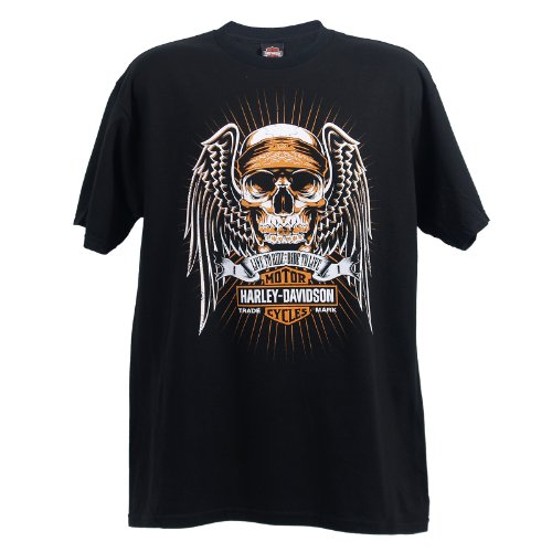 Harley-Davidson Wiesbaden Angel Skull T-Shirt Mens, Large, Black