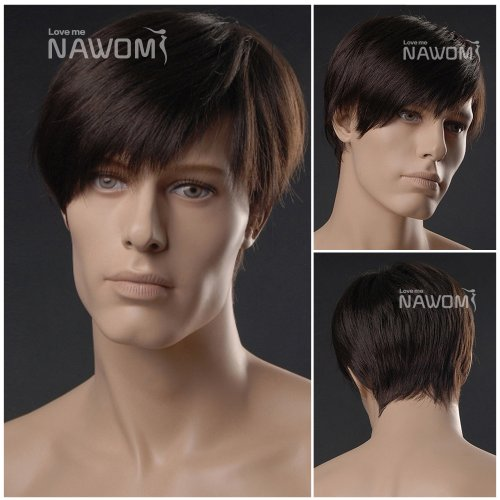 (WG-ZL293-4)Short Straight Men Wig,Dark Brown color. by Roxy Display
