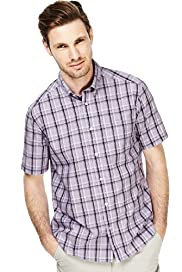 Pure Cotton Easycare Large Grid Checked Shirt