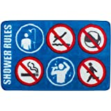 Tapis de bain Shower Rules Bleu blanc et rouge Polyester et latex Balvi 25866