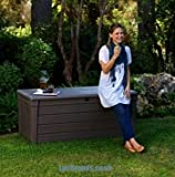 Keter Brightwood Wood Effect Garden Storage Bench Deck Box 455 Litres