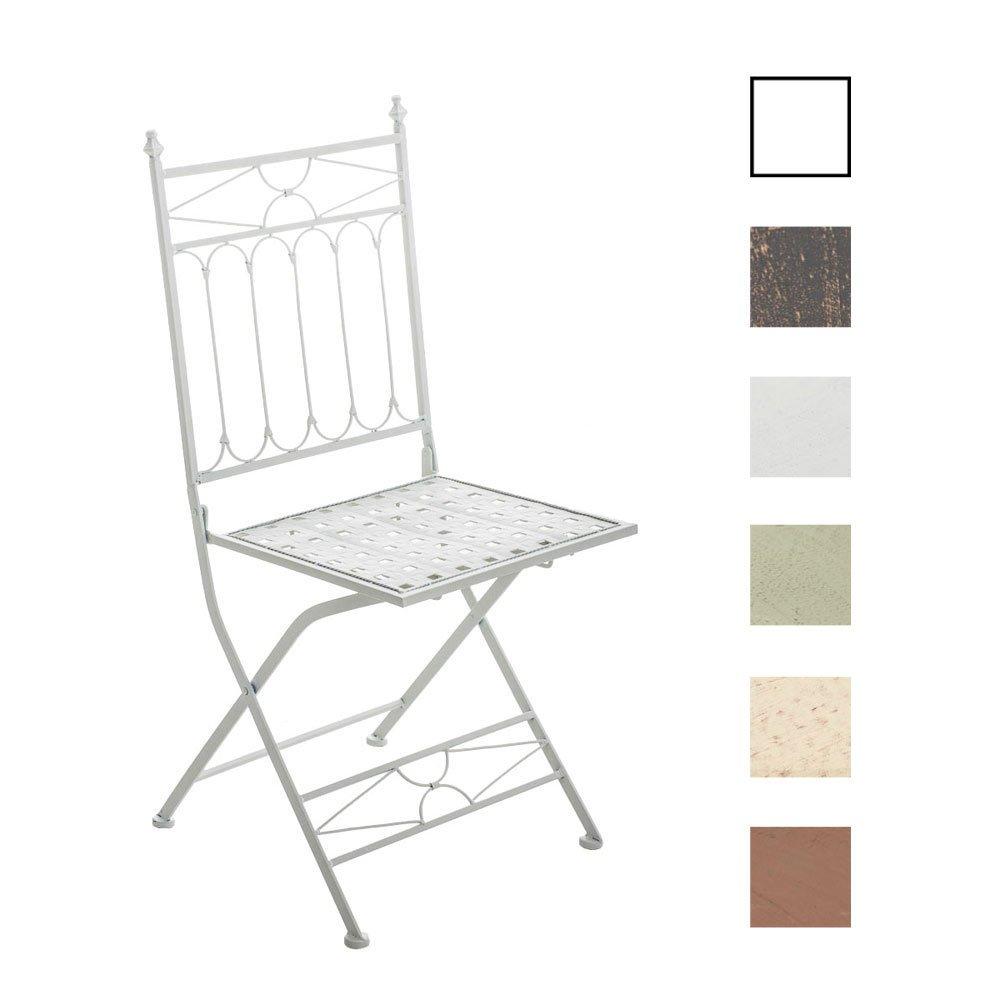 CLP nostalgischer Klappstuhl ASINA Loraville aus Eisen (aus bis zu 6 Farben wählen) weiß