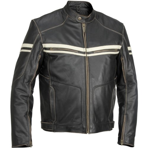 River Road Hoodlum Men's Vintage Leather Touring Motorcycle Jacket - Black / Size 42 0