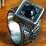 Stainless Steel Ring, Mens Wedding Band Anniversary Rings Cut Antique Black Crystal Size 11 Epinki