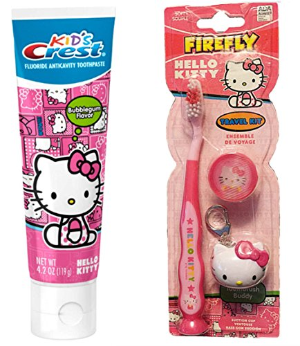 Hello-Kitty-Toothbrush-Keychain-Crest-Bubble-Gum-Flavored-Toothpaste