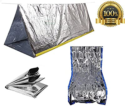 Sportsman Emergency Tent and Sleeping Bag Kit. This High Quality Mylar Reflective Thermal Shelter Is Best for Backpacking - Camping - Hiking - Survival Gear or Rescue Blanket. Satisfaction Guaranteed!