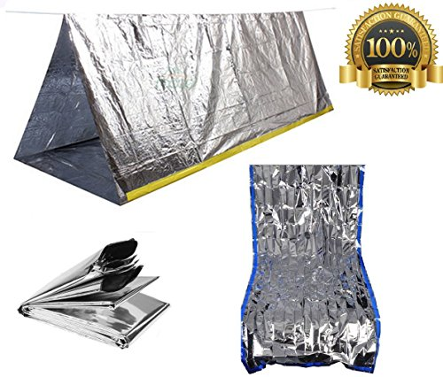 Sportsman Emergency Tent And Sleeping Bag Kit This High Quality Mylar Reflective Thermal Shelter Is Best For Backpacking