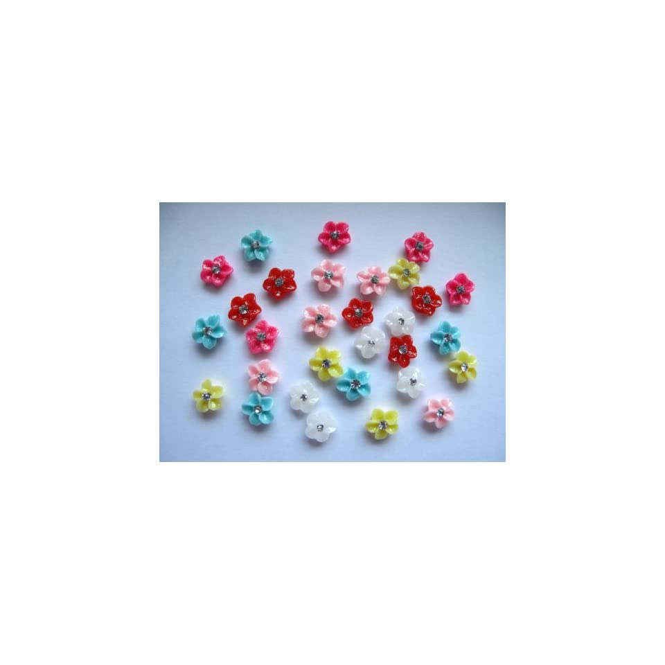 Nail Art 3d 30 Pieces Mix Color Flower/Rhinestone for Nails