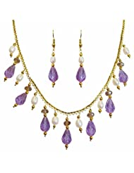 Nisa Pearls White And Purple Danglers Necklace For Women