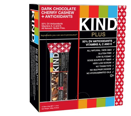 KIND PLUS, Dark Chocolate Cherry Cashew + Antioxidants, Gluten Free Bars 1.4oz. (Pack of 12)