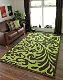 Florence Stylish Lime Green and Brown Damask Floral Cheap Modern Rug 879 - 4 Sizes Available