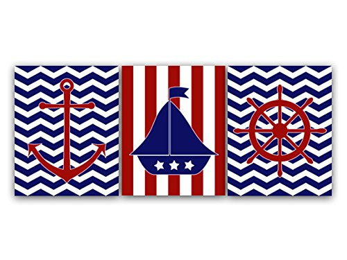 Unframed Prints (Choose Your Sizes) - Nautical Wall Art, Modern Nautical Nursery Art Print, Sailboat Nursery Decor, Anchor Art Print, Navy And Red Nursery Art - Kids57