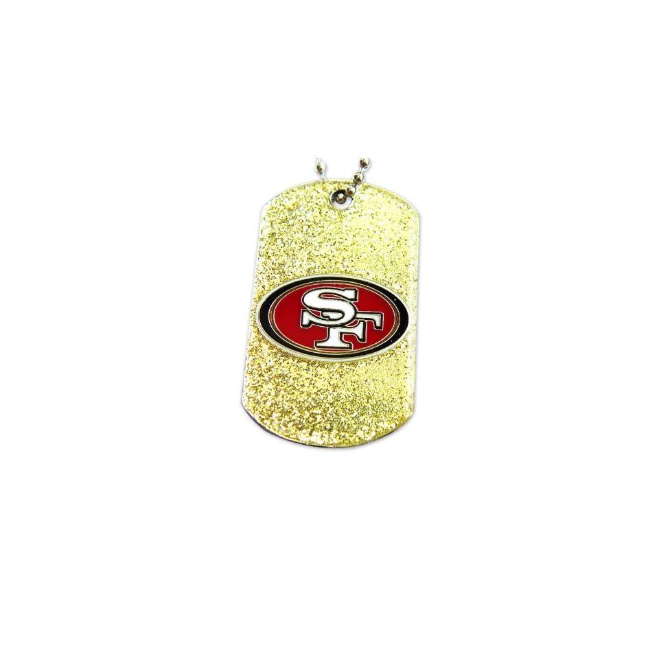 NFL DT 146 26   San Francisco 49ers Dog Fan Tag Glitter Sparkle Necklace NFL