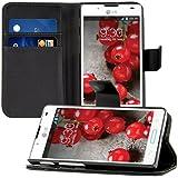 kwmobile Wallet Case Hülle für LG Optimus L7 II - Cover Flip Tasche mit Kartenfach und Ständerfunktion in Schwarz