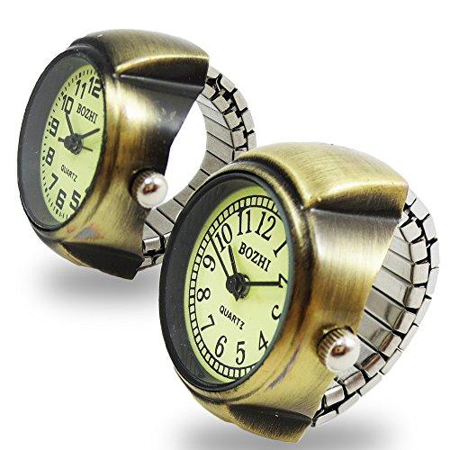 アンティーク 指輪時計 - ブロンズ アラビア数字 リングウォッチ - おしゃれ 指輪時計 (Bタイプ)
