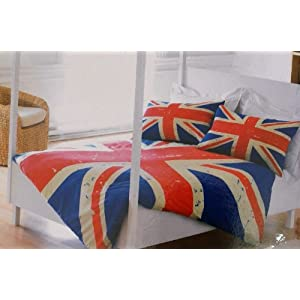 housse de couette 2 personnes avec le drapeau anglais union jack deco londres. Black Bedroom Furniture Sets. Home Design Ideas