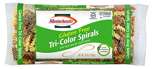 Manischewitz Gluten Free Tricolor Spirals, Yolk Free Noodle Style Pasta, 10 Ounce (Pack of 4) (Round Pasta Noodles compare prices)