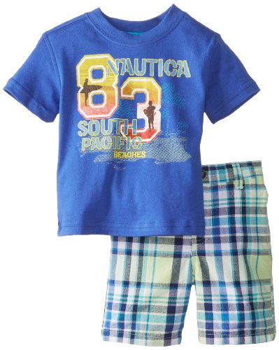 Nautica Baby-Boys Infant 83 Surf Tee And Plaid Short Set, Blue, 12 Months front-1071223