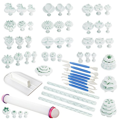 Cake Decorating Equipment Usa : Fu Store Rose Red 21 Sets 68pcs Cake Embossing Mold Cake ...