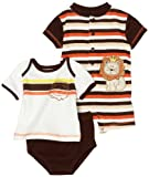 Babyworks Baby-boys Newborn 3 Piece King Of The Jungle Romper Diaper Set, Brown, 0-3 Months