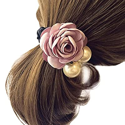 Hair Accessories,TOOPOOT Women Satin Ribbon Rose Flower Pearls Ponytail Hair band