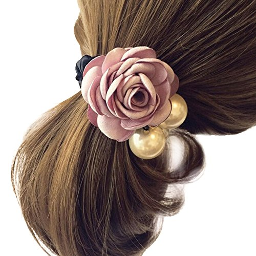 Hair-AccessoriesTOOPOOT-Women-Satin-Ribbon-Rose-Flower-Pearls-Ponytail-Hair-band