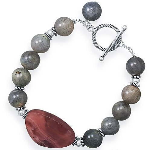 "Clevereve 2014 Designer Series Handmade Sterling Silver Beads Labradorite & Rhodocrosite Toggle Bracelet 8.0"""