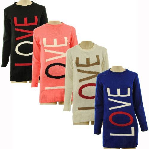 Tara New Womens Love Knitted Ribbed Crew Neck and Hem Ladies Jumper Top One Size 8-14