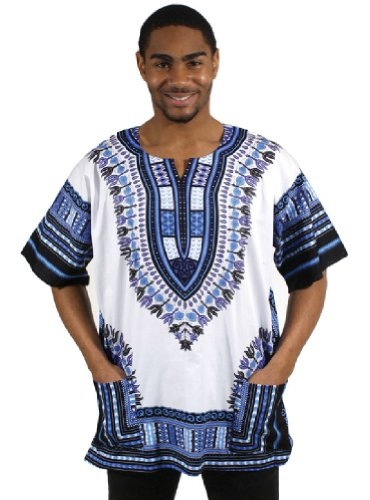 Traditional Thailand Style Dashiki - Available in Several Color Combinations, White with Blue