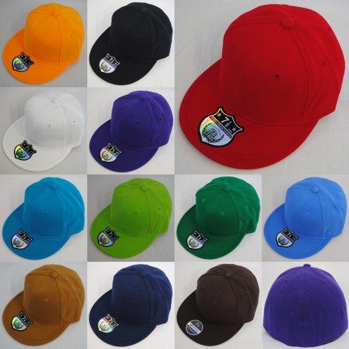 New Plain Fitted Flat Peak Baseball Hat Cap - Red - Size 7 1/2
