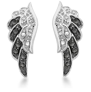 Carissima 9ct White Gold 0.22ct Black and White Diamond Angel Wings Stud Earrings
