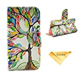 Se7enline for Galaxy S6 Painted Fashion Style Wallet Card Case Magnetic Design Flip Folio PU Leather Standup Cover Case for Samsung Galaxy S6,with Colorful Tree and Leaf Pattern,Lucky Tree