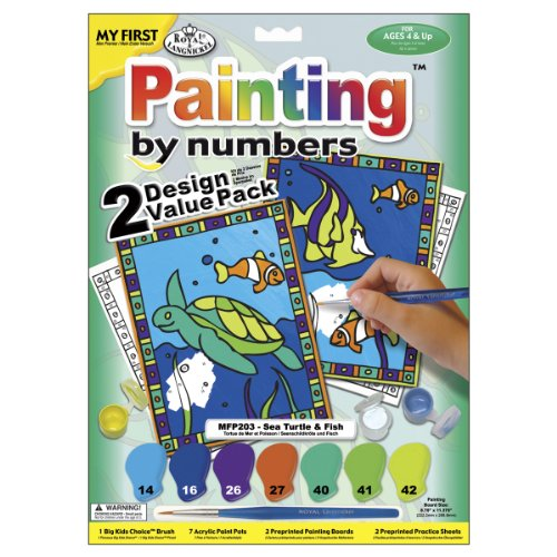 Royal Brush My First Paint By Number Kit 8.75 by 11.375-Inch 2-Pack-Sea Turtle and Fish