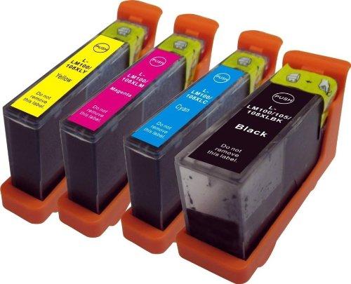 4 x Lexmark L-100XL L-108XL Hochleistungs-Tintenpatronen, kompatibel für Lexmark Impact S305, S815, Lexmark Interact S605, Lexmark Interpret S405, Lexmark Intuition S505, Lexmark Pinnacle Pro 901, Lexmark Platinum Pro 905, Lexmark Prestige Pro 805, Lexmark Prevail Pro 705, Lexmark Prospect Pro 205 Drucker