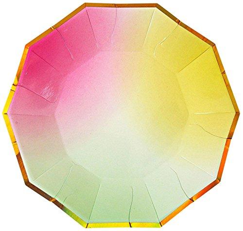 Meri Meri Toot Sweet Ombre Graduating Colors Dessert Paper Plates, 8 Count
