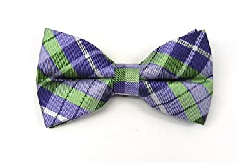100% Silk Woven Violet and Apple Totally Tartan Plaid Pre-Tied Bow Tie