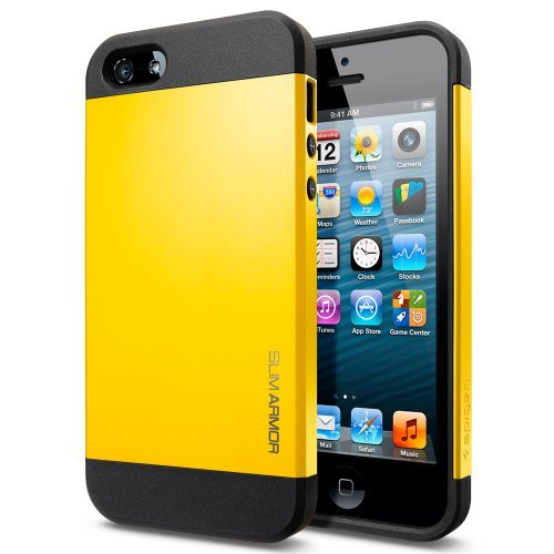 Iphone 5 Case, Spigen Slim Armor Color Case For Iphone 5/5S - 1 Pack - Retail Packaging - Reventon Yellow (Sgp10137)