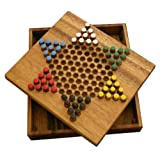 Thai Handicraft Checkers Board Game, Hand Made Hand Craft Wooden Toys - 6 Star