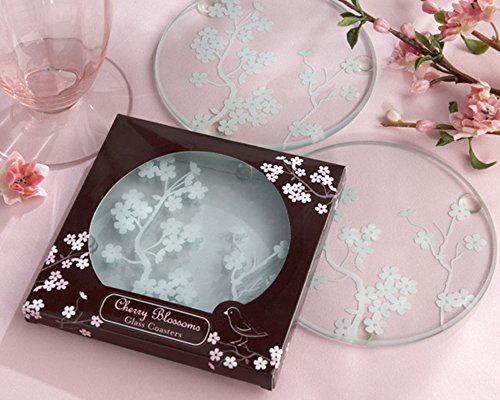 [Colorful Home] Cherry Blossom || Glass Coaster - Green Enviromentally Friendly - set of 4pcs