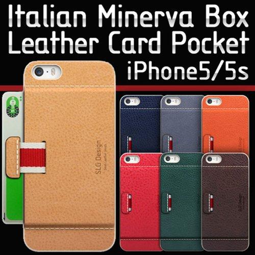 iPhone5/5S カード収納可能 牛革ポケットケース/SLG Design D6 Italian Minerva Box Leather Card Pocket Bar/イタリアンミネルバボックスレザーカードポケットバー/フィルム1枚入り