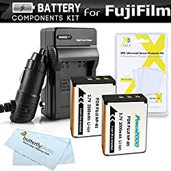 2 Pack Battery And Charger Kit For Fuji Fujifilm FinePix SL1000 SL300 S1 Digital Camera Includes 2 Extended Replacement (200Mah) For Fuji NP-85 Batteries + Ac/Dc Rapid Travel Charger + LCD Screen Protectors + MicroFiber Cleaning Cloth
