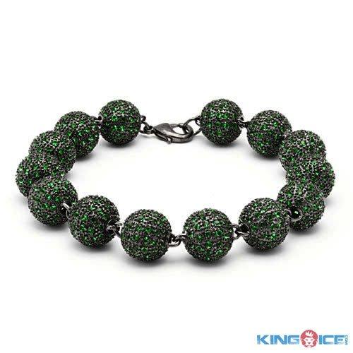 King Ice Men's Money Green Premium Disco Ball Bracelet