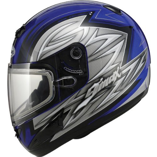 Gmax Gm38S Men'S Snow Racing Snowmobile Helmet - Blue/Black/Silver / X-Large