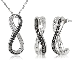 Sterling Silver Black and White Diamond Twist Shape Pendant and Earrings Box Set (1/3 cttw, I-J Color, I2-I3 Clarity), 18