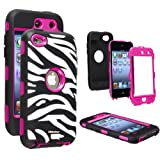 Oksobuy® Deluxe Zebra Hard Soft High Impact Armor Case Combo for Apple Ipod Touch4,(rose Red Black, Touch4 Case... by OkSoBuy