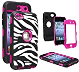 Oksobuy® Deluxe Zebra Hard Soft High Impact Armor Case Combo for Apple Ipod Touch4,(rose Red Black, Touch4 Case)-0230
