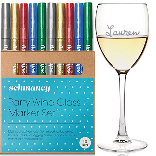 Schmancy Wine Glass Markers Erasable Metallic Pens (10 Pack)