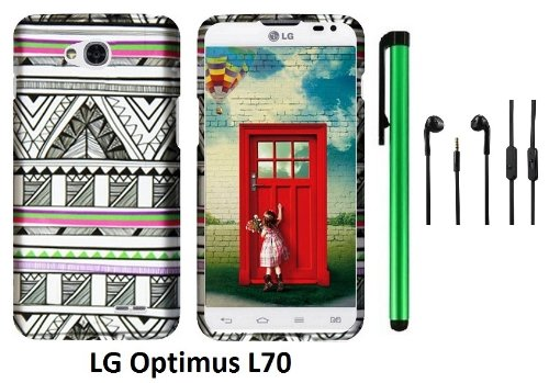 Lg Optimus L70 (Ms323) Premium Pretty Design Protector Hard Cover Case + 3.5Mm Stereo Earphones + 1 Of New Assorted Color Metal Stylus Touch Screen Pen (Antique Aztec Tribal)