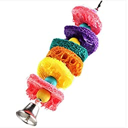 Colorful Luffa Pet Bird Parrot Bell Swing Scratch Bites Toy