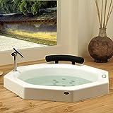 Neptune Nagano Octagon Extra Deep Japanese Soaker Bath Tub 40 x 40 x 36 3/4 NA40S White